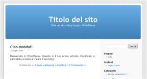 Ecco come apparirà la home del vostro sito dopo aver installato WordPress