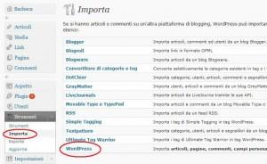 importare wordpress